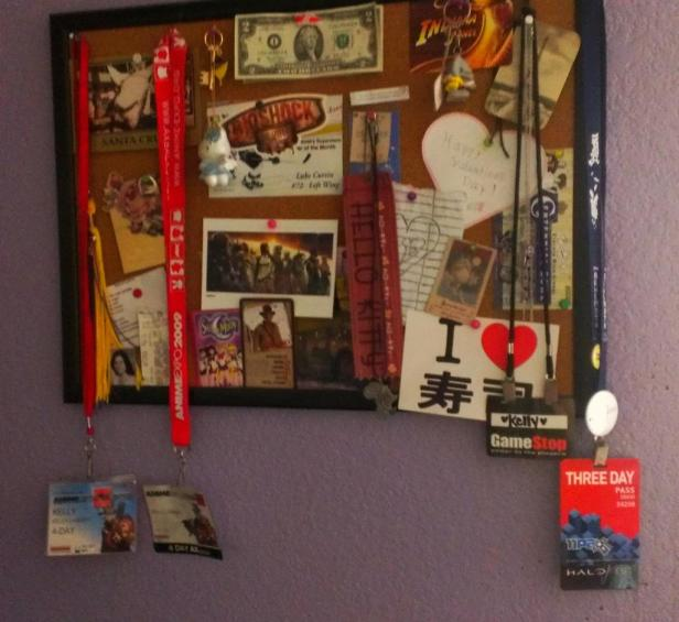 My corkboard and the random things i put up on it.