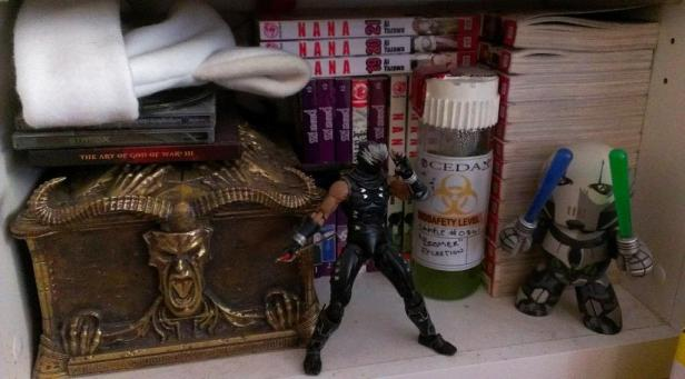 My God of War 3 collector's box, Ryu Hayabusa figure, some manga, a homemade jar of boomer bile (L4D2) for a cosplay I did, and other things.