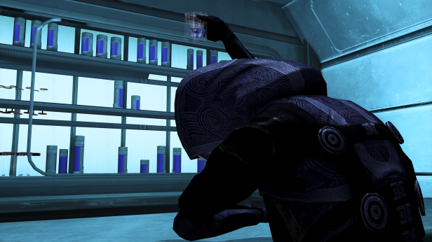 """Turian brandy, triple filtered, then introduced into the suit through an emergency induction port."""